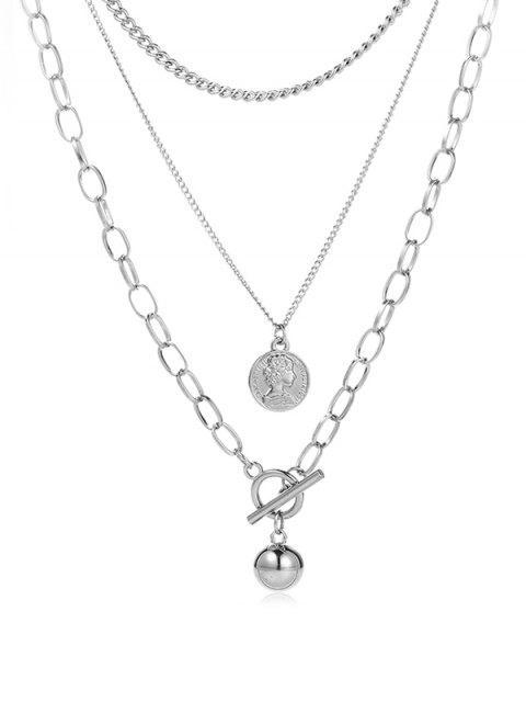 Валентина Многослойное Цепное Ожерелье С подвеской - Серебристый  Mobile