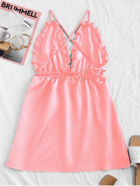 shop Silky Backless Cami Night Dress - PINK L Mobile