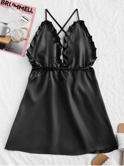 women's Silky Backless Cami Night Dress - BLACK M Mobile