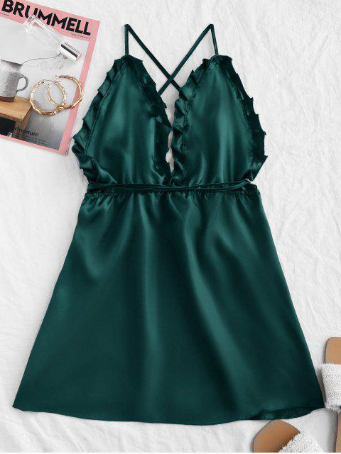 best Silky Backless Cami Night Dress - GREEN S Mobile