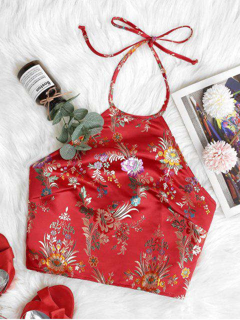 outfit ZAFUL Oriental Smocked Back Halter Floral Jacquard Crop Top - RED L Mobile
