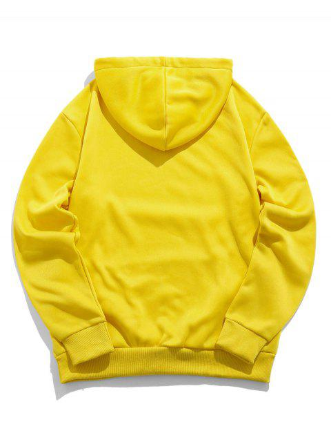 ZAFUL卡通字母打印袋鼠口袋連帽衫 - 黃色 L Mobile