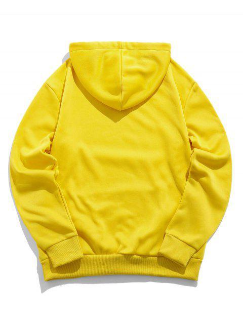 ZAFUL卡通字母打印袋鼠口袋連帽衫 - 黃色 2XL Mobile