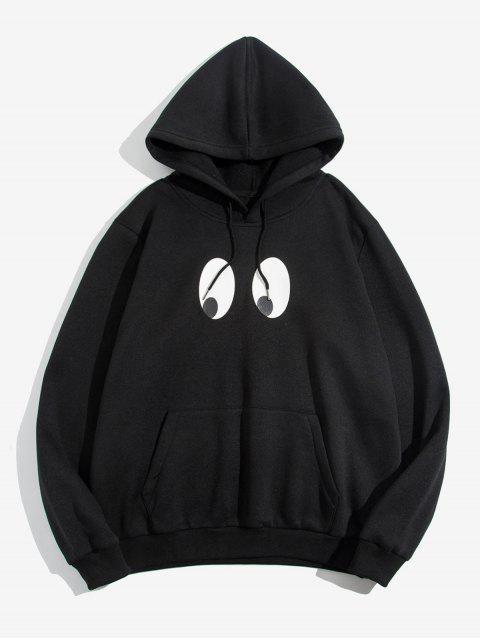 ZAFUL卡通眼睛打印口袋連帽衫 - 黑色 M Mobile
