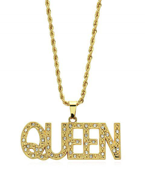 Хип-хопБуквыQueenГорный хрусталь Подвеска Ожерелье - Золотой  Mobile