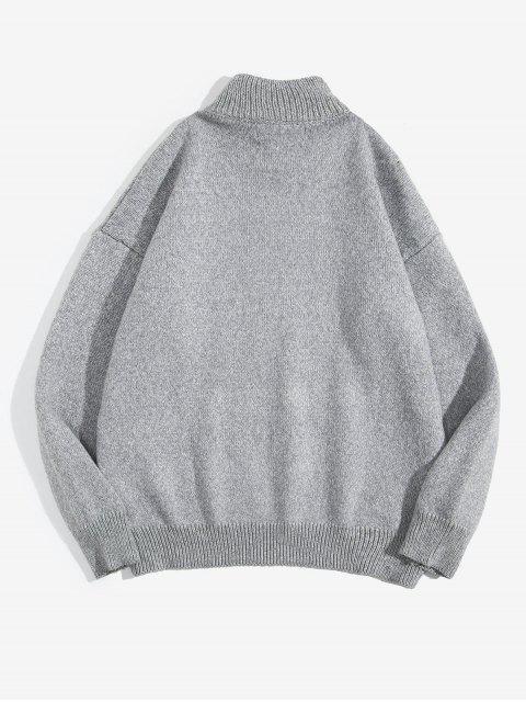 unique Floral Plant Embroidery Mock Neck Sweater - LIGHT GRAY M Mobile