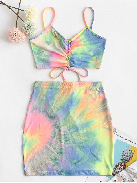 new Tie Dye Cinched Crop Two Piece Suit - MULTI-B M Mobile