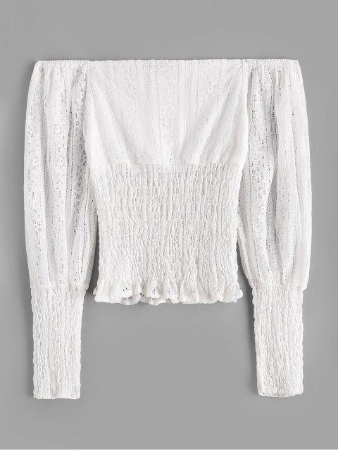 best ZAFUL Off Shoulder Smocked Panel Lace Blouse - WHITE M Mobile