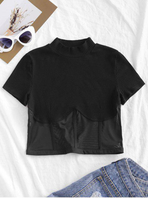 fancy Mesh Panel Mock Neck Crop Tee - BLACK L Mobile