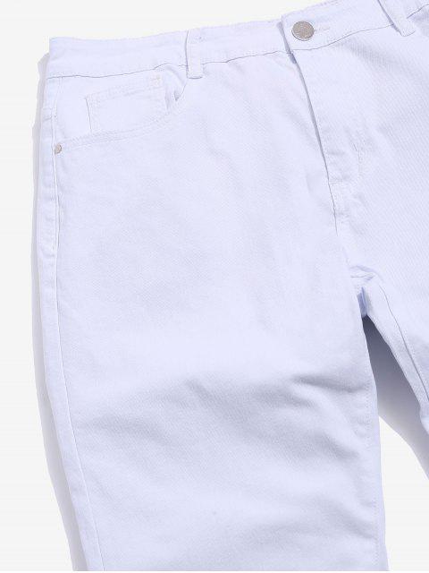 Jeans Casual de Color Sólido con Diseño de Cremallera - Blanco 34 Mobile