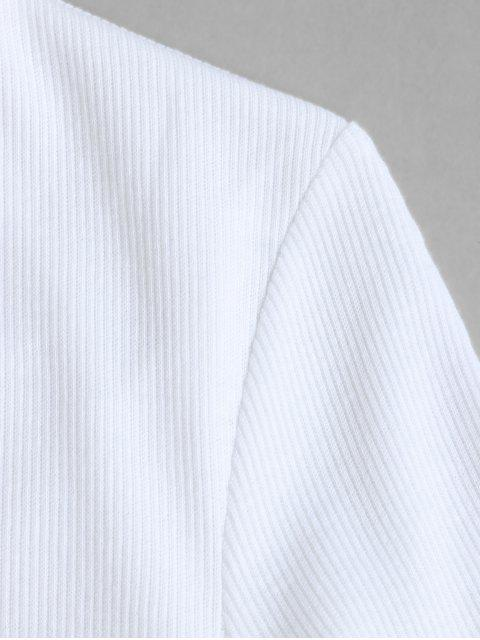 online Solid Stitching Ribbed Cropped Tee - WHITE M Mobile