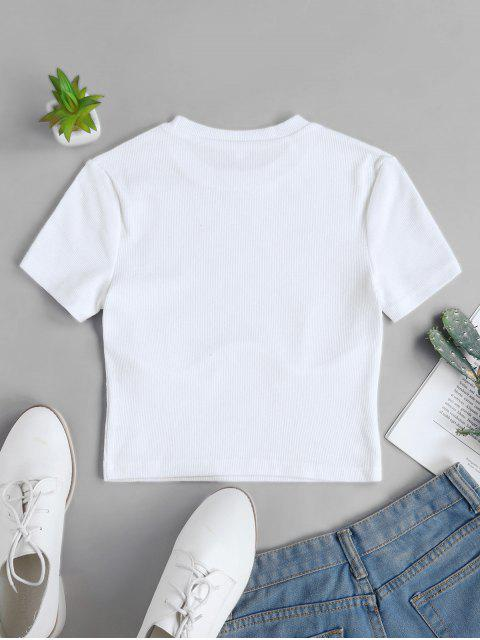 best Solid Stitching Ribbed Cropped Tee - WHITE L Mobile
