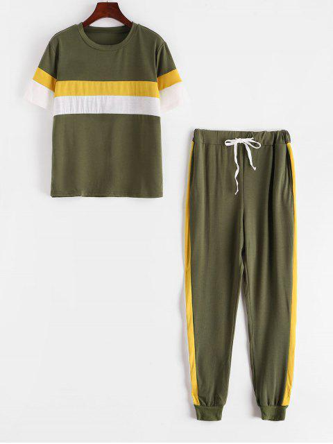 fashion Colorblock Stripes Track Two Piece Set - ARMY GREEN S Mobile