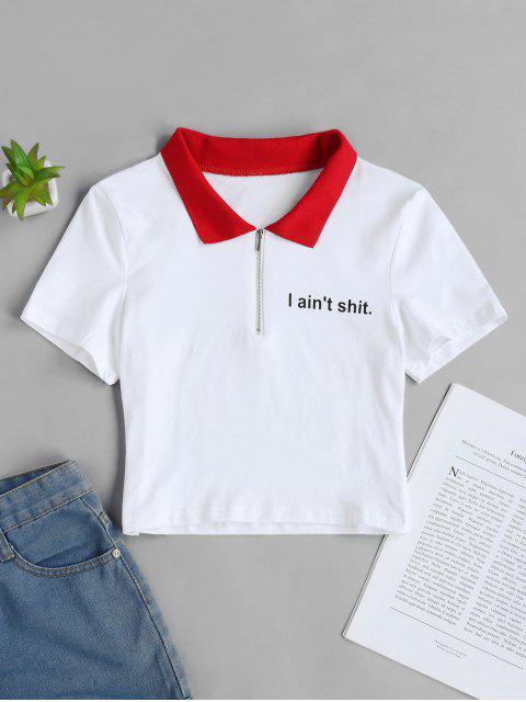 T-shirt Court Lettre Graphique à Demi-zip - Blanc M Mobile