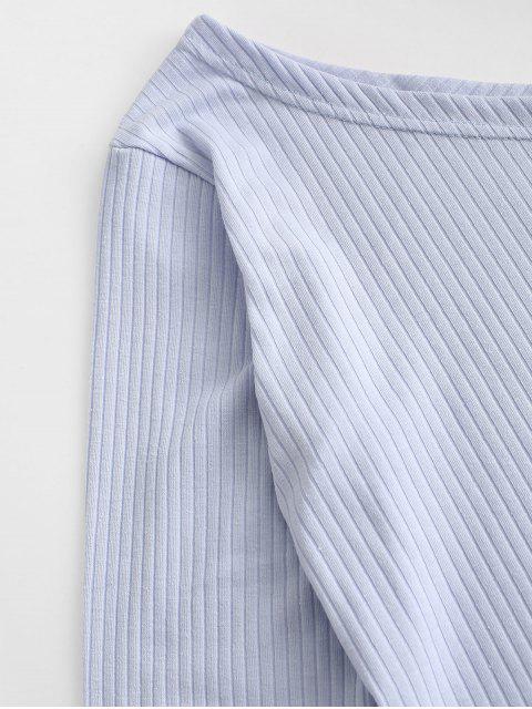 Gebunden Einziger Schulter Crop Top - Hellblau XL Mobile