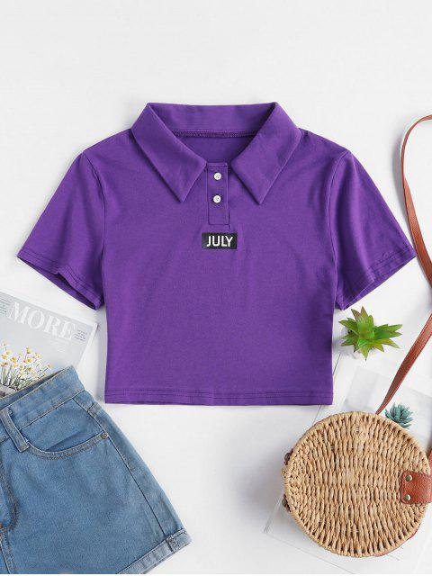 T-shirt Court Graphique avec Deux Boutons - Pourpre  L Mobile
