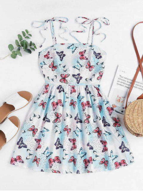 ZAFUL Gebundenes Schulter Kittel Dazzling Druck Mini Kleid - Blau L Mobile