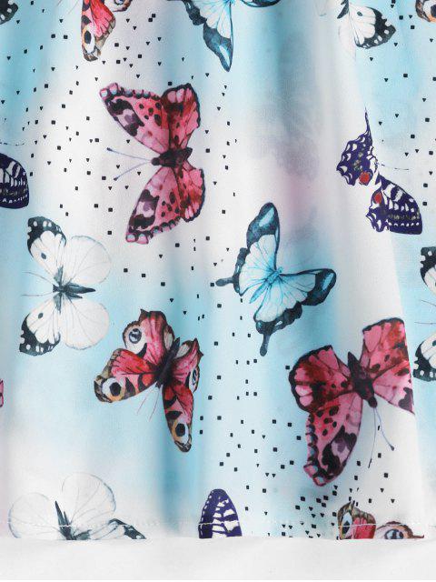 fashion ZAFUL Tie Shoulder Smocked Dazzling Butterfly Print Mini Dress - BLUE S Mobile