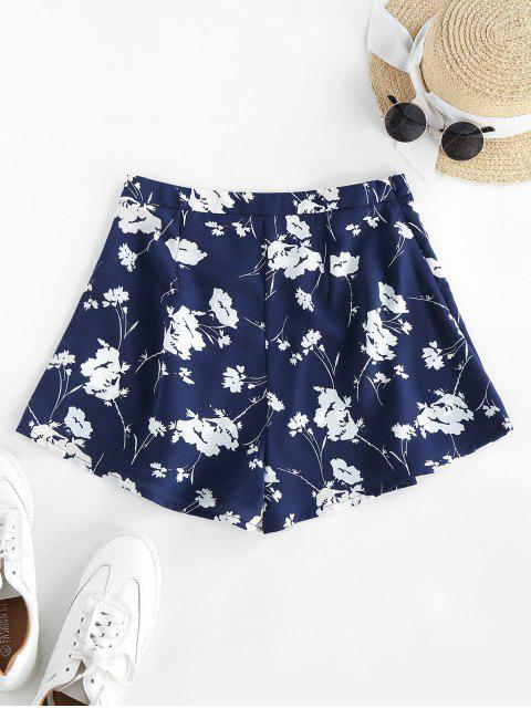 outfits ZAFUL Flower High Waisted Wide Leg Shorts - MIDNIGHT BLUE M Mobile