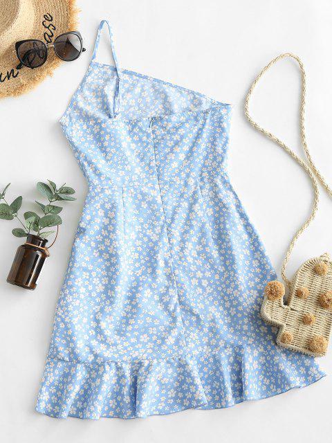 ZAFUL Ditsydruck Einziger Schulter Kleid mit Bindesaum - Blau XL Mobile