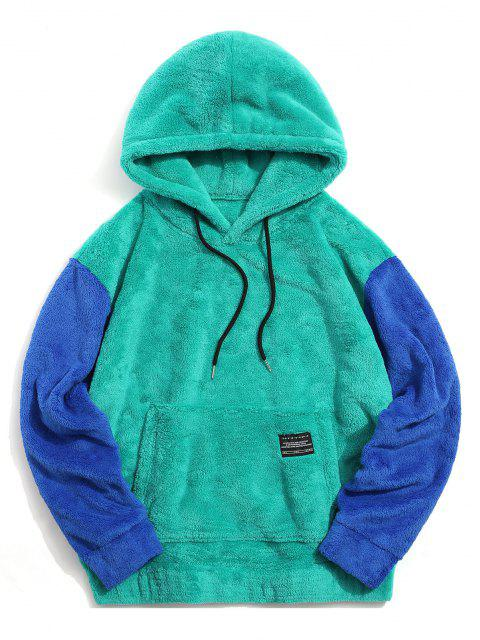 chic Color-blocking Pouch Pocket Fluffy Hoodie - MACAW BLUE GREEN 2XL Mobile