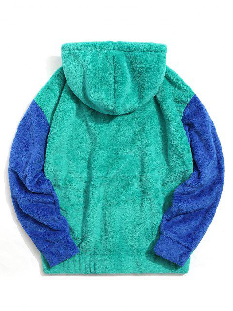 shops Color-blocking Pouch Pocket Fluffy Hoodie - MACAW BLUE GREEN S Mobile