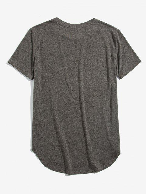 ZAFUL Camiseta con Corte Alto bajo de Bolsillo en Pecho - Gris Nublado L Mobile