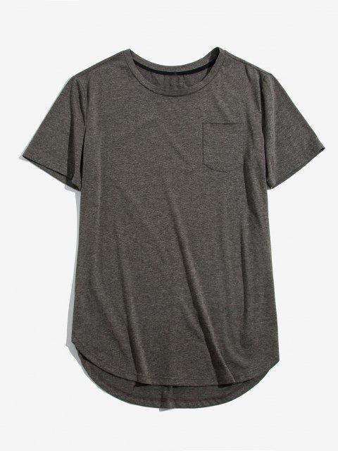 ZAFUL Einfarbiger Brusttaschen Hoher Niedriger T-Shirt - Bewölkt Grau S Mobile