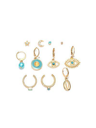 11Pcs Hollow Eye Moon Earrings Set