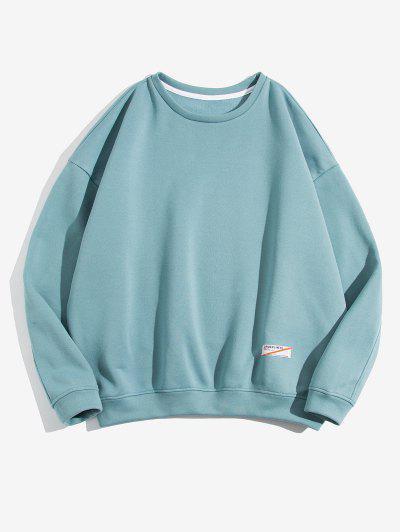 ZAFUL Drop Shoulder Solid Fleece Sweatshirt - Blue Gray L