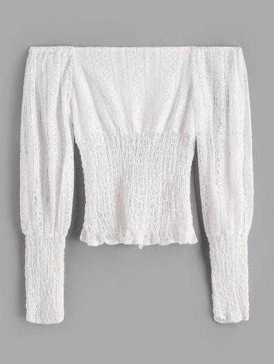 ZAFUL Off Shoulder Smocked Panel Lace Blouse