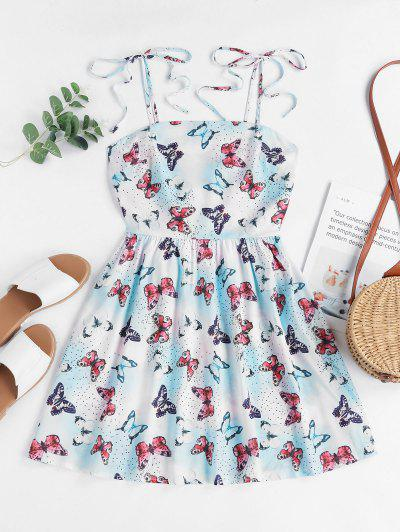 ZAFUL Tie Shoulder Smocked Dazzling Butterfly Print Mini Dress - Blue L