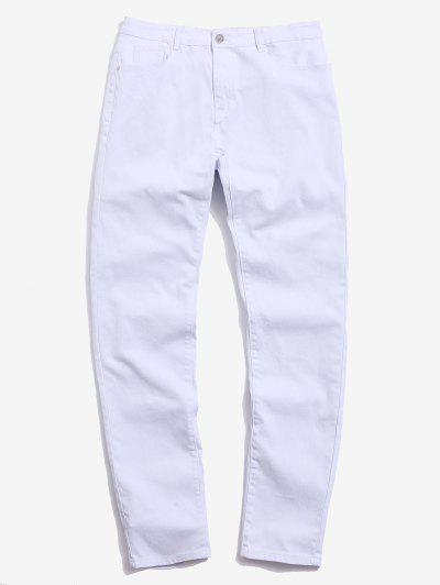 Casual Solid Color Zip Fly Design Jeans - White 32