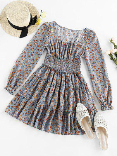 ZAFUL Ditsy Print Smocked Dress - Blue Gray L