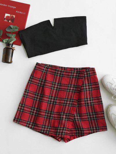 ZAFUL V Notched Plaid Strapless Overlap Shorts Set - Lava Red L