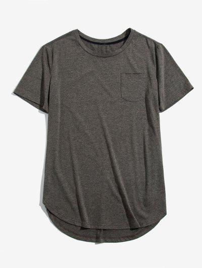 ZAFUL Solid Chest Pocket High Low T-shirt - Cloudy Gray M