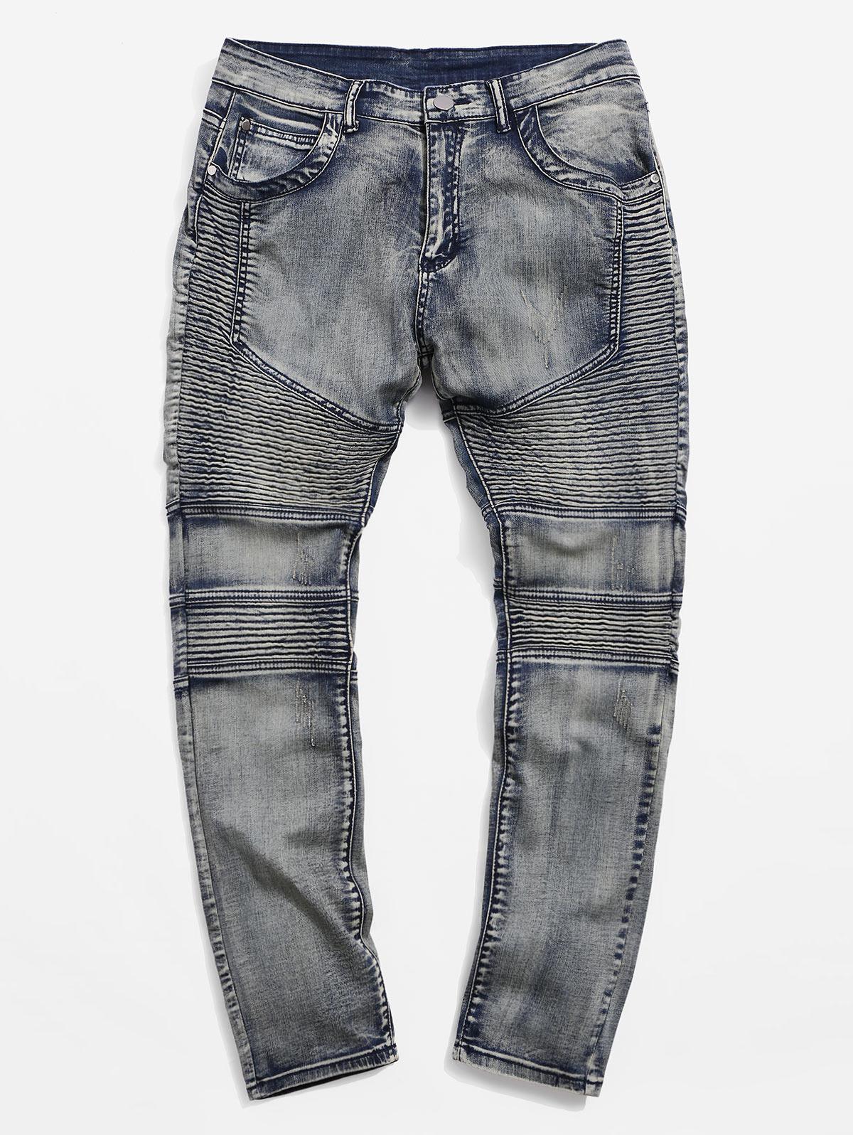 Vintage Drape Panel Zipper Jeans thumbnail