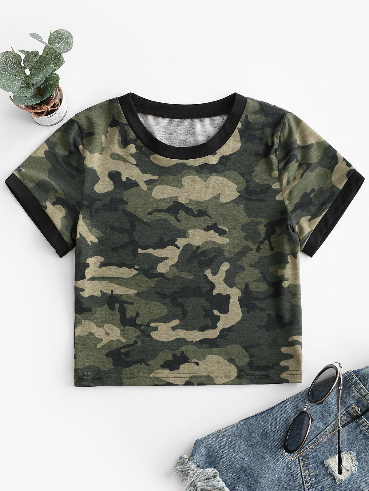 Camouflage Crop Short Sleeves Tee