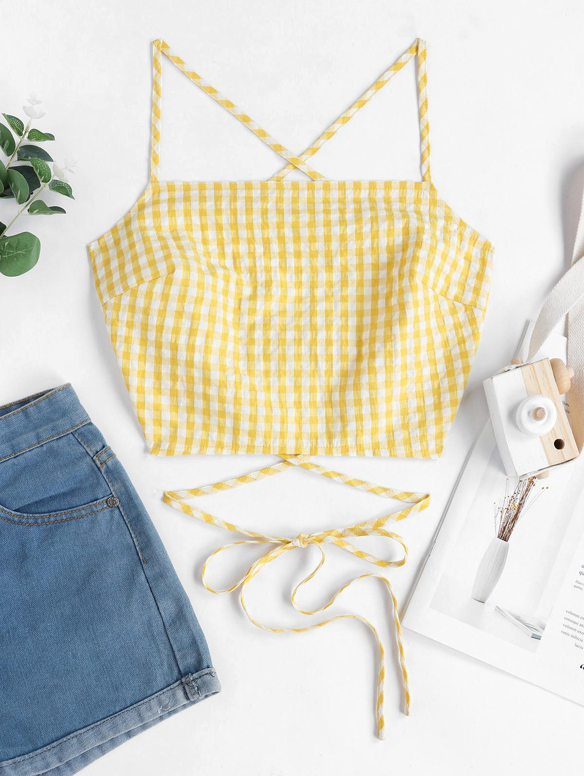 ZAFUL Criss Cross Lace Up Gingham Cami Top