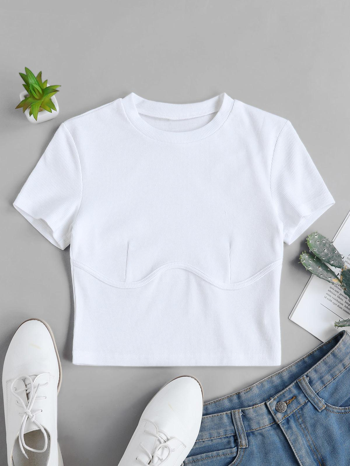 Solid Stitching Ribbed Cropped Tee фото