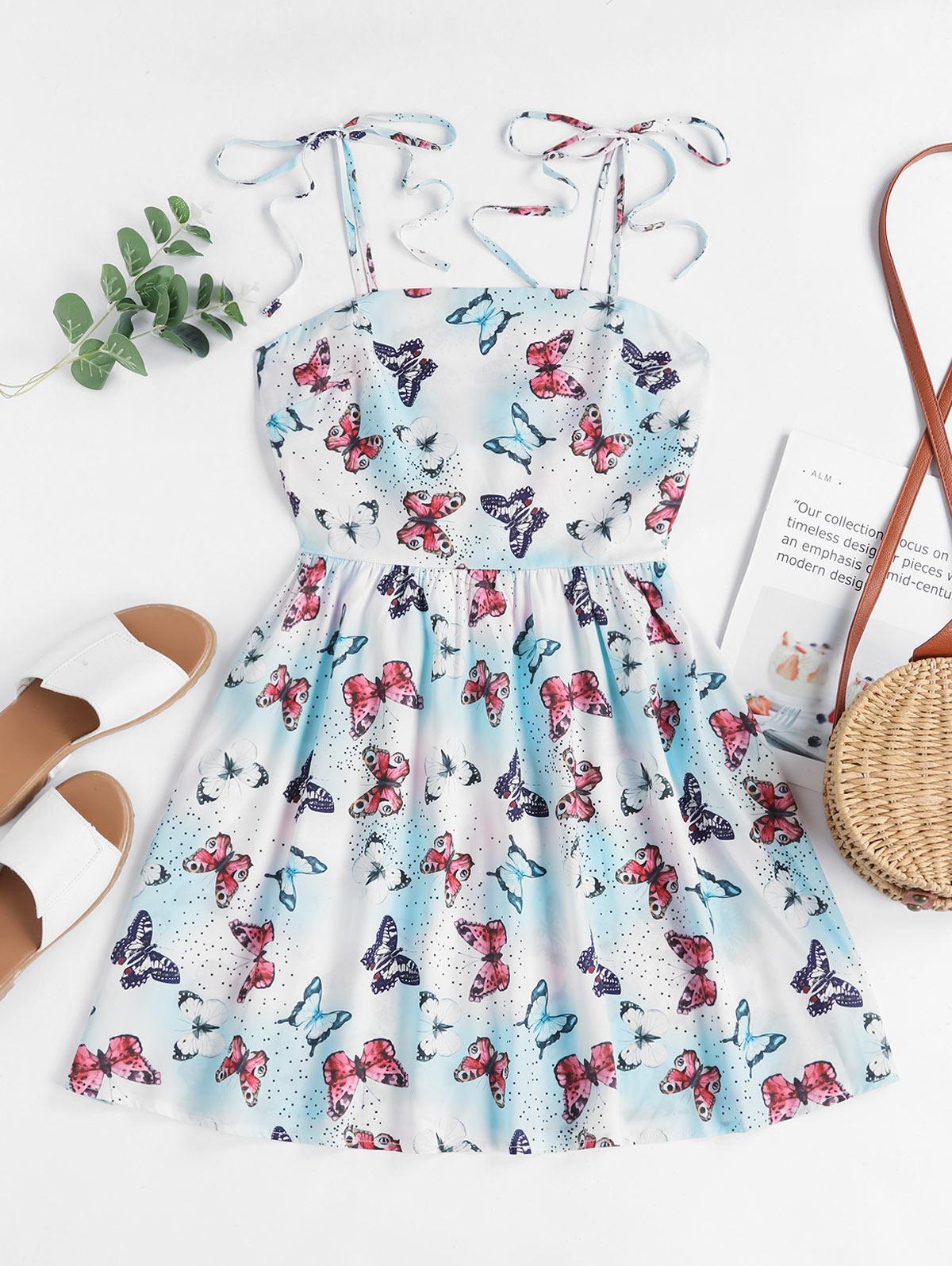 ZAFUL Tie Shoulder Smocked Dazzling Butterfly Print Mini Dress