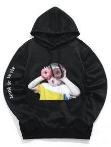 Character Letter Print Hoodie