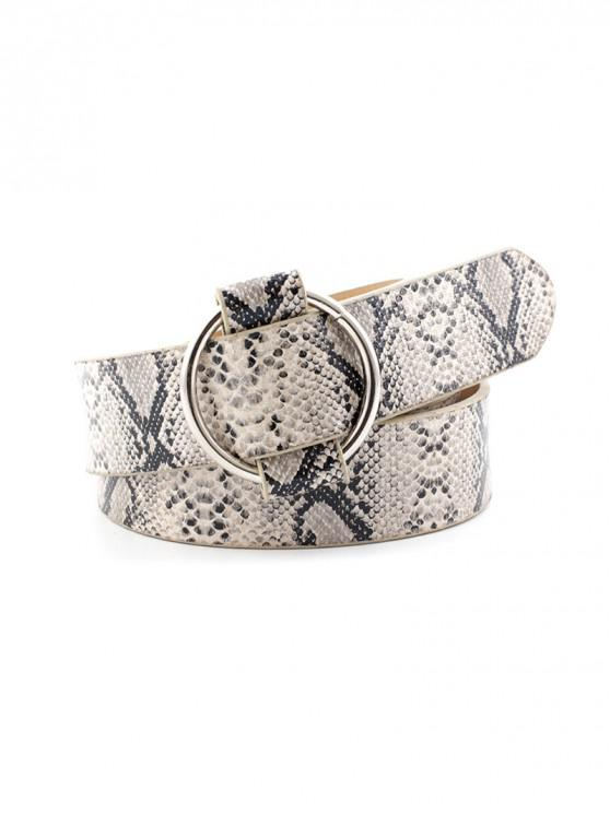outfits Round Buckle Animal Skin Print Casual Belt - CRYSTAL CREAM