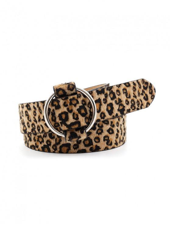 Runder Gürtelschnalle mit Tierhautmuster - Leopard