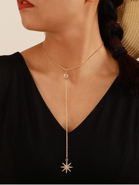 best Full Rhinestone Star Y Shaped Chain Necklace - GOLD