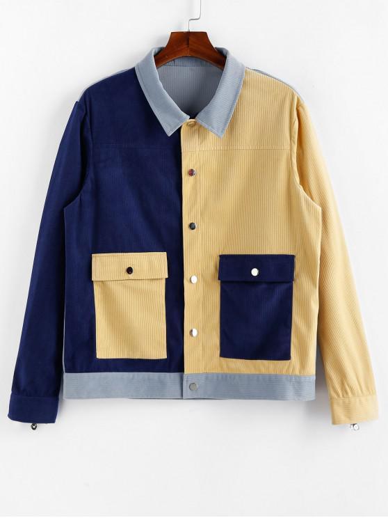 women ZAFUL Colorblock Panel Flap Pocket Cord Jacket - MULTI 2XL