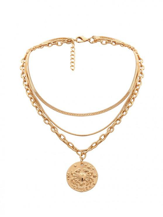 sale Engraved Crab Pendant Multilayered Necklace - GOLD
