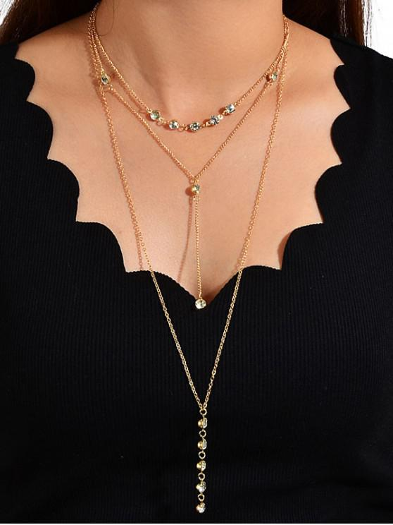 affordable Rhinestone Chain Multilayered Necklace - GOLD