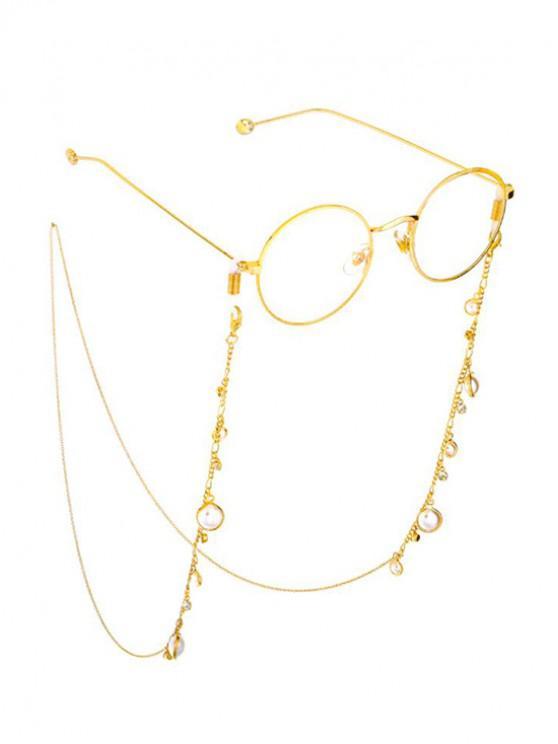 buy Faux Pearl Rhinestone Sunglasses Lanyard - GOLD