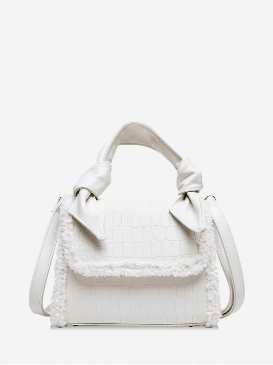 womens Embossed Leather Fuzzy Brim Handbag - WHITE